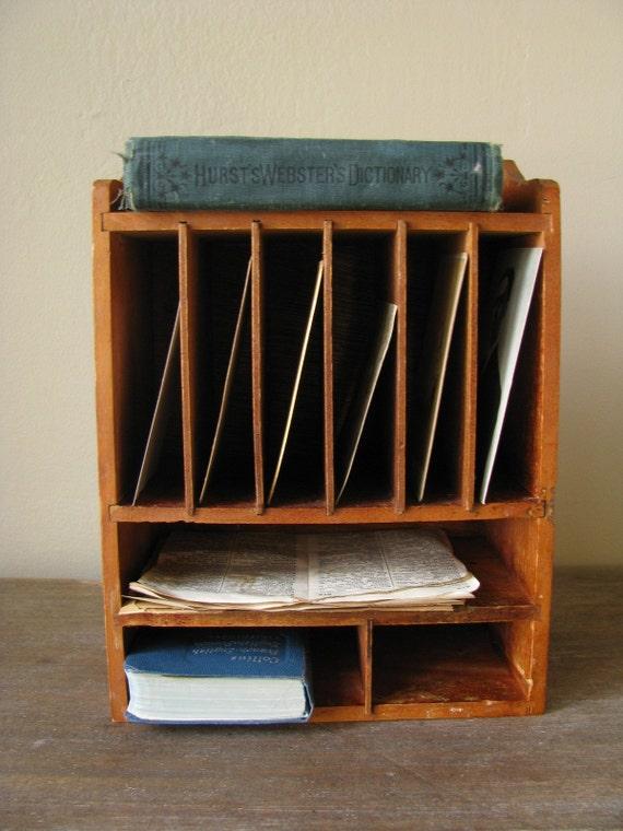 Vintage wooden desk organizer letter sorter by - Desk organizer sorter ...