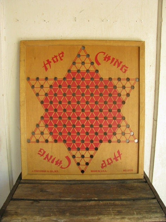 vintage hop ching chinese checkers wooden game board