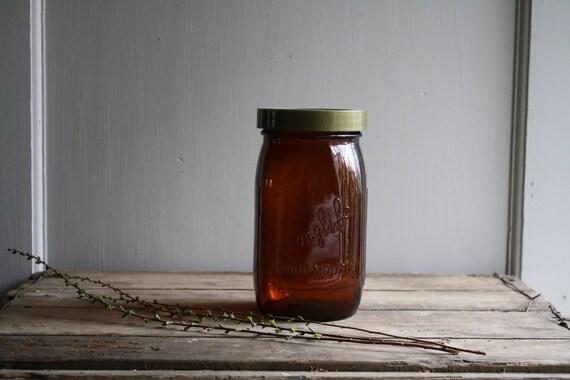 vintage amber longlife sproutmaker jar