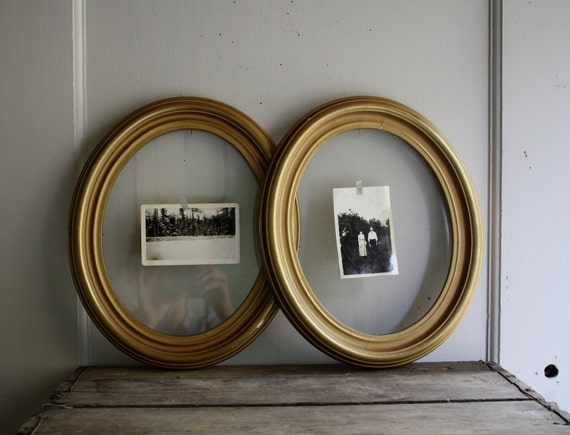 vintage oval picture frames wood and gesso