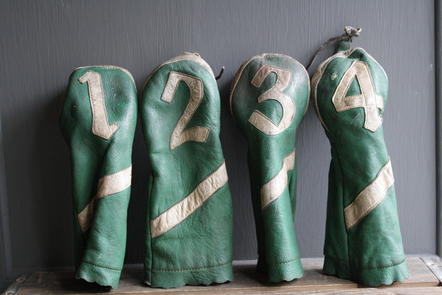 vintage leather golf head covers by littlebyrdvintage on Etsy