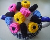 Hand Knitted  teapot cozy, tea  cosy with liquorice allsort sweets