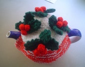Christmas time tea cosy, teapot cozy, with holly berries and leaves