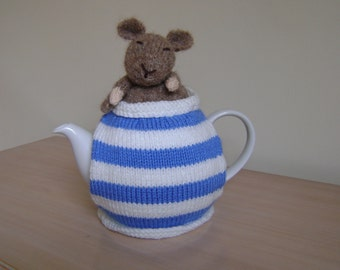 Hand knitted Cornish dormouse tea cosy