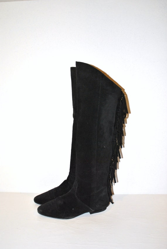 80s Fringe Boots Black Suede Over The Knee By