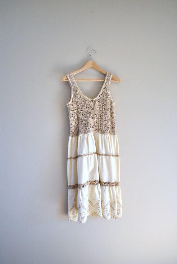 70s crochet dress // oats and honey crochet and cotton // vintage 1970s boho dress