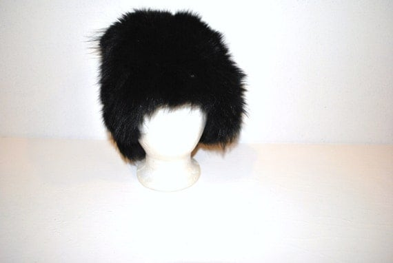 60s fur hat // luxe black fur // vintage 1960s hat
