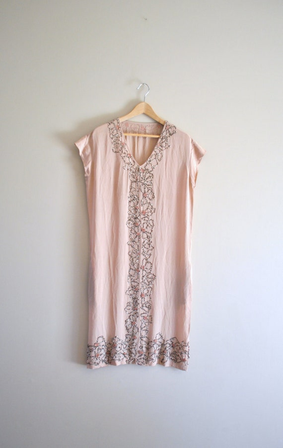 20s art deco dress // blush pink semi sheer crepe and beading // vintage 1920s dress RESERVED