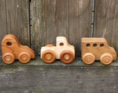Three Little Wooden Toy Vehicles - Kids Handmade Natural Wood Toy Car, Truck and Bus