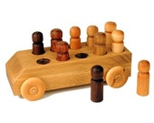 Natural Wood Toy Bus