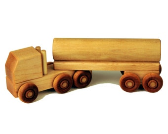 Wood Toy Semi Truck - Tanker Truck