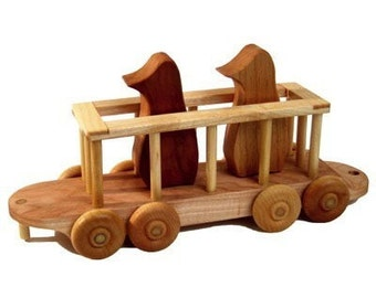 Wooden Train Zoo Car Penguin