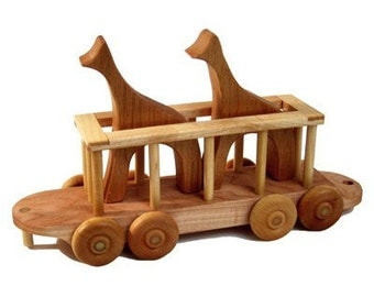 Wooden Train Zoo Car Giraffe