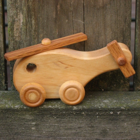Kids Wooden Toy Helicopter - Kids Handmade Natural Wood Toy