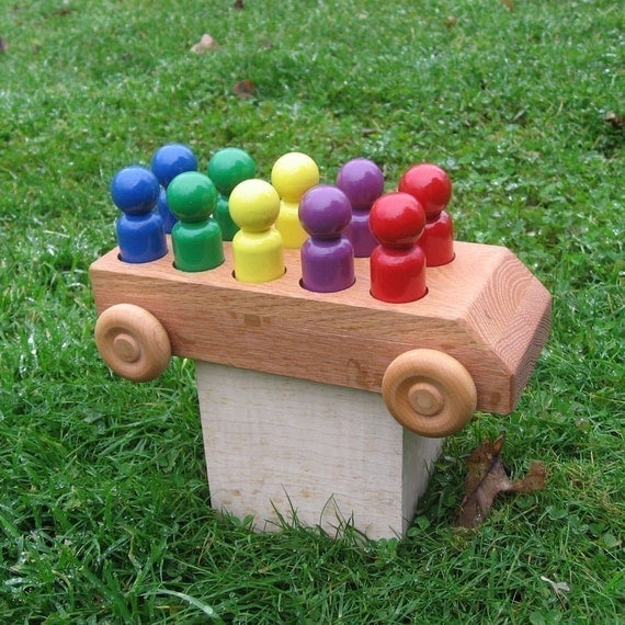 Wooden Toy Bus - Kids Handmade Natural Wood Toy Rainbow Bus - Toys for Kids Boys and Girls