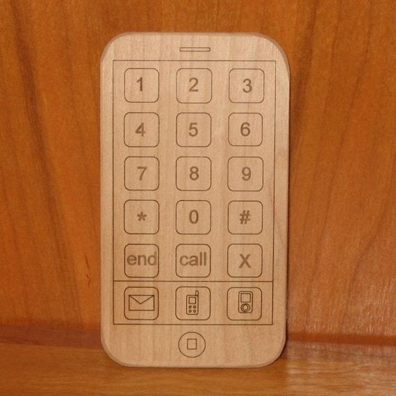 Wooden Toy iPhone - Smart Phone Toy - Organic and Repurposed Wood
