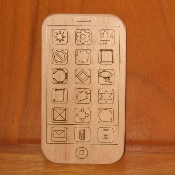 Wood iPhone Smart Phone Toy - Kids Handmade Wooden Toy