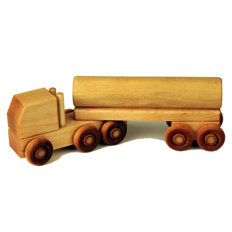 Wooden Toy Trucks : Wood toy semi truck tanker