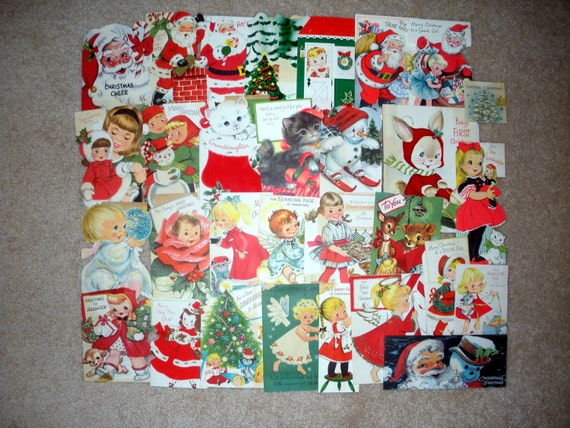Lot of 30 Vintage Christmas Greeting Cards, 1st Christmas, Girl