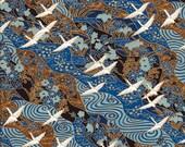 Beautiful White Crane Bird on Brown and Blue Japanese Yuzen Chiyogami Washi Paper Sheet 23 x 15 cm (9 x 6 inches)