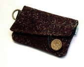 CLEARANCE - Three slot card wallet, brown and black print no.2