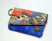 CLEARANCE - Card wallet - Blue and orange Oriental print fabric