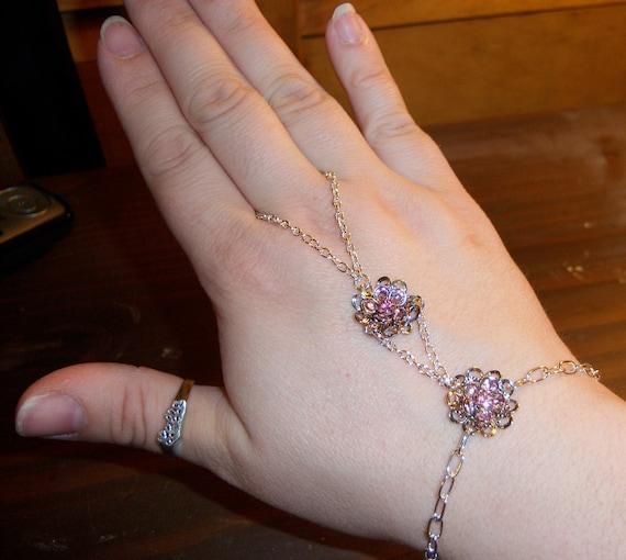 pretty in pink crystal slave bracelet
