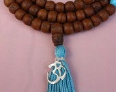 108 Bead Bodhiseed Mala with Turquoise Howlite Markers and Sterling Silver OM - Mala Prayer Beads