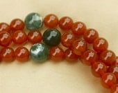 Restringing to Full- Length of Half Carnelian Mala Necklace with Moss Agate Markers - Courage & Confidence Mala
