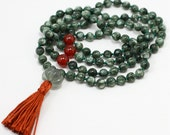 Hand Knotted Seraphinite Mala Necklace w Carnelian & Rainbow Fluorite -  Angelic Connection and Self Healing
