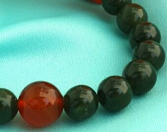 Canadian Jade Wrist Mala Bracelet with Carnelian - Health, Energy, and Confidence