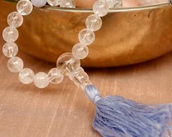 Quartz Mala Prayer Beads w Blue Lace Agate 108 Bead Buddhist Mala Necklace