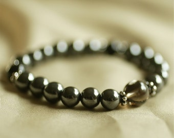 Hematite Wrist Mala w Smoky Quartz and Obsidian - Grounding and Protection Mala Bracelet