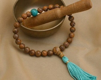 Picture Jasper Pocket Mala with Turquoise Howlite Mala Prayer Beads