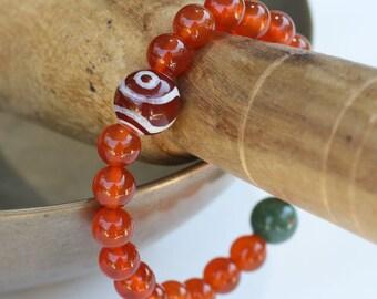 Carnelian Wrist Mala Tibetan and Moss Agate Yoga Buddhist Prayer Beads