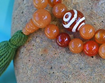 Red Aventurine Half Mala with  Carnelian - 54 Bead Non Stretch Mala Prayer Beads, Tibetan and Moss Agates