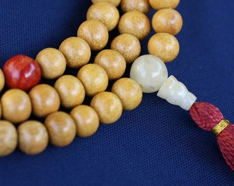 Nangkawood 108 Mala Necklace with Coral, Yellokw Jade &  Russian Serpentine - Buddha Beads
