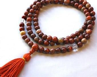 Poppy Jasper Mala Prayer Beads with Quartz and Silk Tassel - Brecciated Jasper Mala Necklace