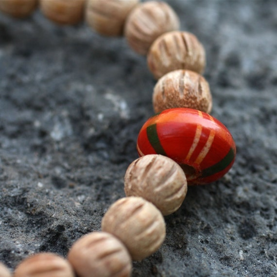 Wood Wrist Mala Bracelet w Striped Orange Guru Bead - Wood Hippy Yoga Bracelet