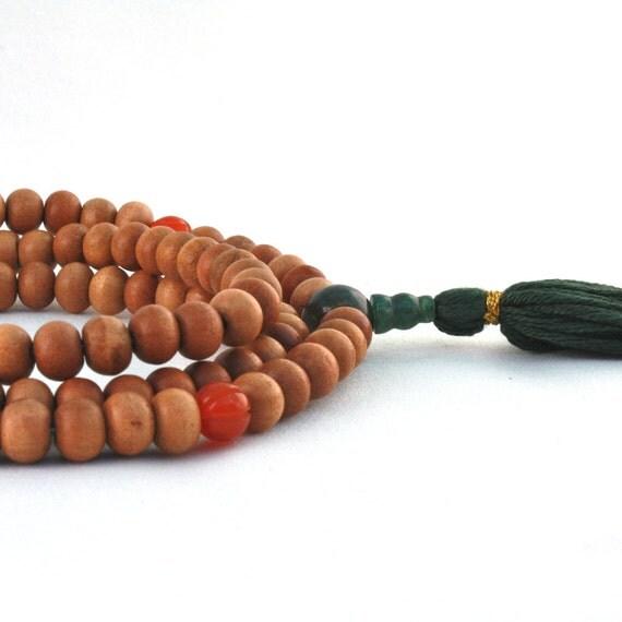 Sandalwood Mala Prayer Beads w Carnelian, Moss Agate & Bloodstone - Buddha Beads