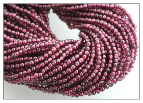 Garnet bead strand A grade - 2 mm round natural garnet beads full strand - genuine garnet gemstone beads - january birthstone - red stone