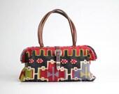 80s vintage kilim and leather handbag / vintage Elephant Walk tapestry purse / handmade leather carpet bag