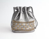 80s leather bucket bag / vintage metallic leather drawstring purse