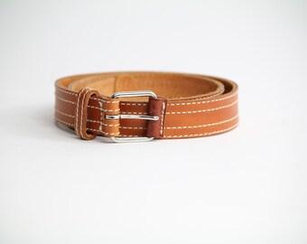 Vintage 1970s Italian Leather Belt | Brown Leather Belt | M