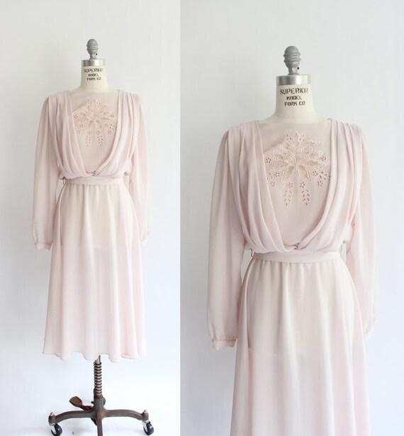 80s vintage dress / pale pink crepe draped bodice dress/ xsmall