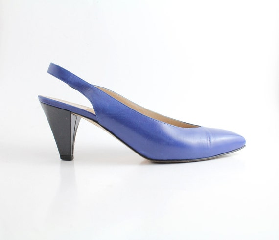 FINAL SALE. . . sz 6 vintage Amalfi shoes / cobalt blue leather slingback sandals / 36