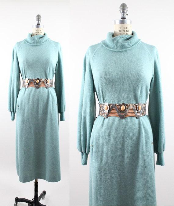 80s vintage sweater dress // vintage heather seafoam raglan pullover / M - XL