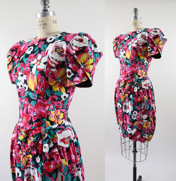 Leslie Fay party dress | vintage floral party dress | tulip sleeve garden dress | M