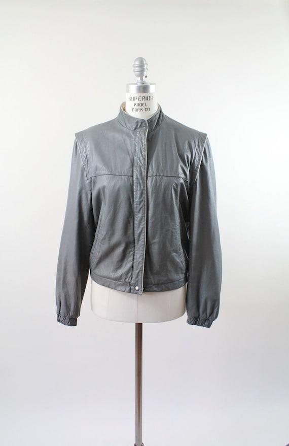 80s vintage leather jacket / cafe racer moto jacket / gray / med-large