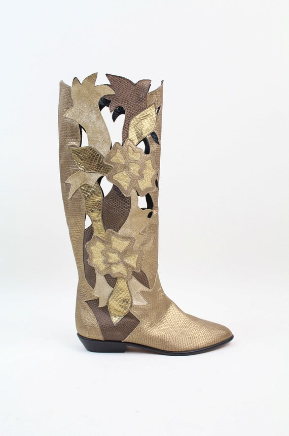 sz 5.5 vintage Beverly Feldman shoes / metallic leather patchwork boots / 35.5